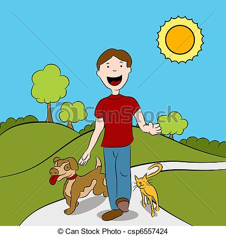 EPS Vector of Man Walking With His Pets in The Park.