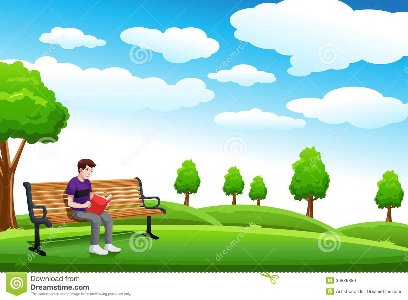 Man Reading Park Bench Stock Illustrations.