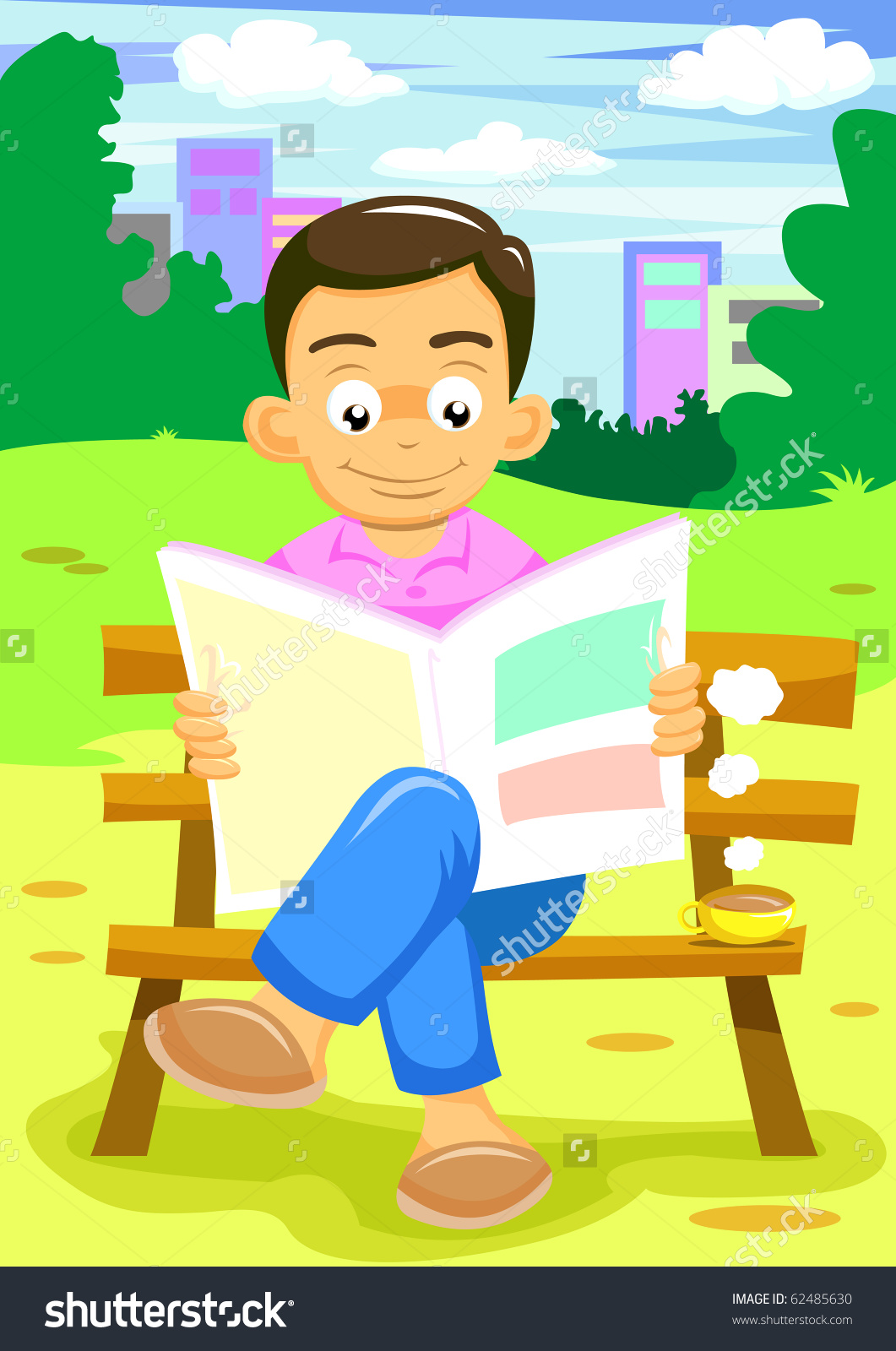 Man Reading News Park Stock Vector 62485630.