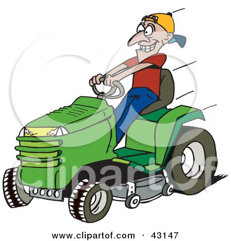 Cartoon White Man Mowing the Lawn in His Yard Posters, Art Prints.