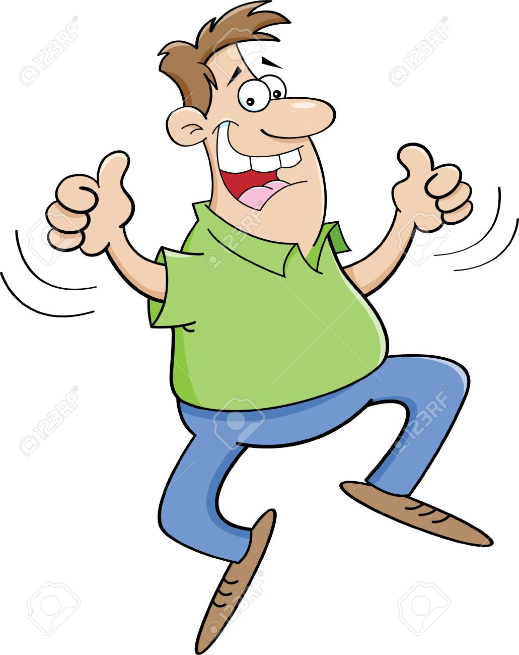 Cartoon Illustration Of A Man Jumping With Thumbs Up Royalty Free.