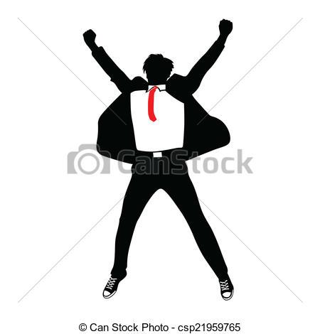 Clip Art Vector of man in suit jumping vector csp21959765.