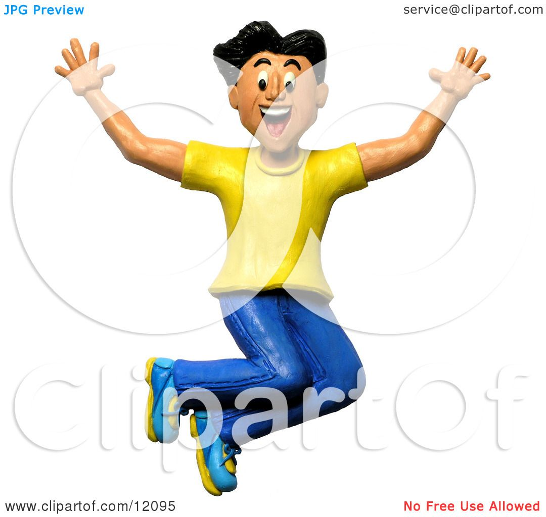 Clay Sculpture Clipart Happy And Energetic Man Jumping.