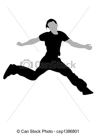 Clipart of handsom man jumping in air.