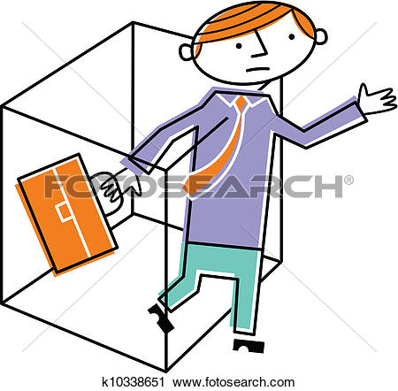 Clipart of Man leaving box with briefcase k10338651.