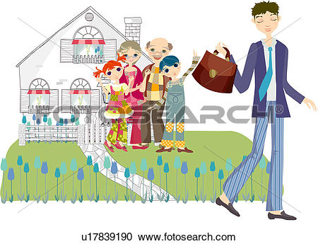 Stock Illustrations of Man leaving for work with family at home.