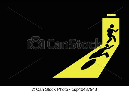 EPS Vector of Man exit leaving black room.
