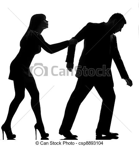 Stock Photo of one caucasian couple dispute separation man leaving.