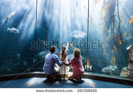 Family At Aquarium Stock Images, Royalty.