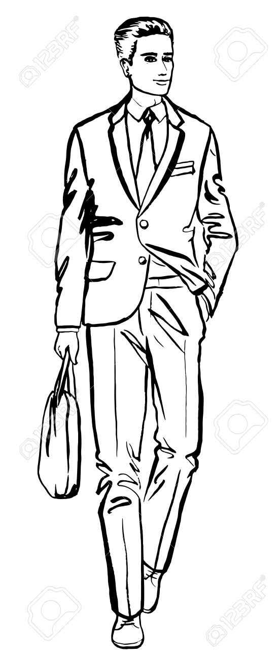 Fashion illustration of business man. ink outline sketch isolated...