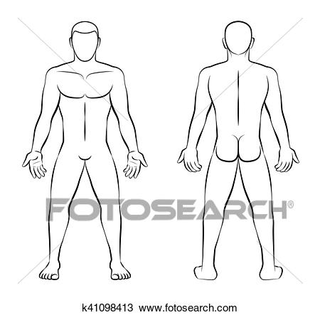 Nude Man Illustration Front Back View Outline Clipart.