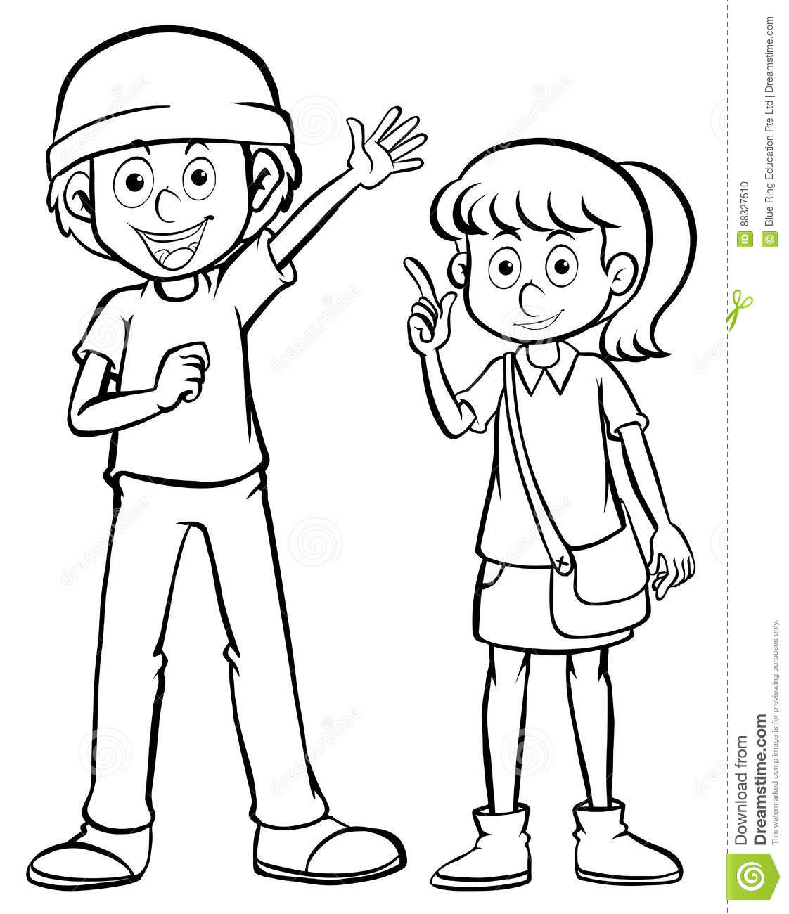Character Outline For Man And Woman Stock Vector.