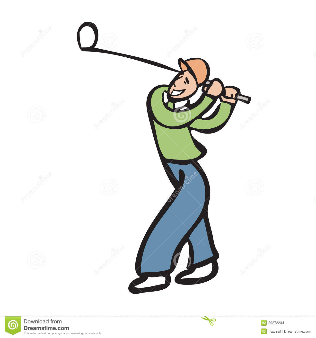 Cartoon Man Playing Golf Stock Illustrations.