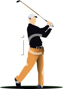 Realistic Style Man Playing Golf.