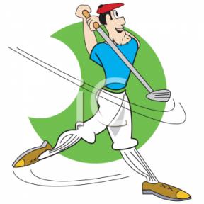 Man Golfing Clipart.