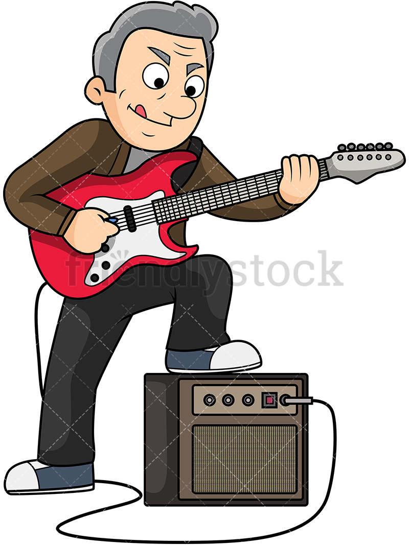 Old Man Playing Electric Guitar Cartoon Vector Clipart.