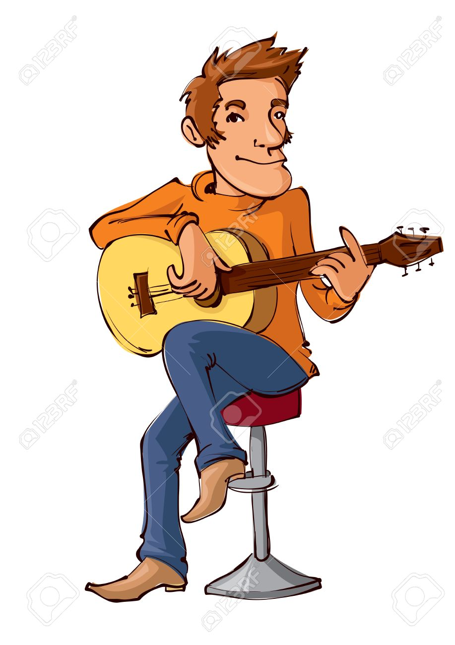 Playing The Guitar Clipart.