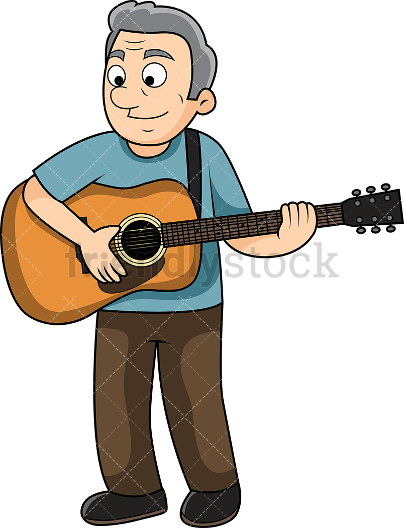 Old Man Playing The Guitar.