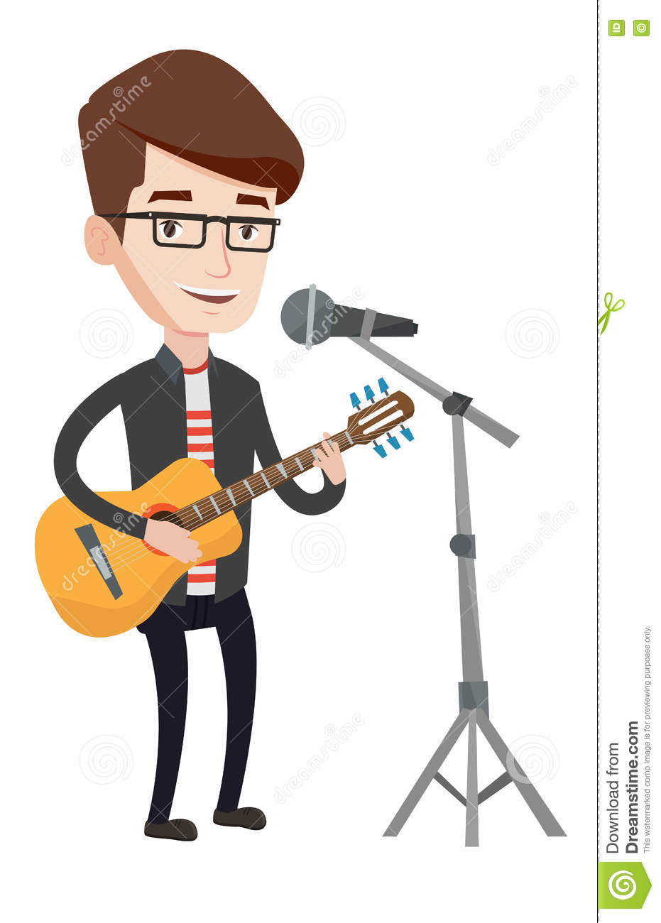 Man Singing In Microphone And Playing Guitar. Stock Vector.