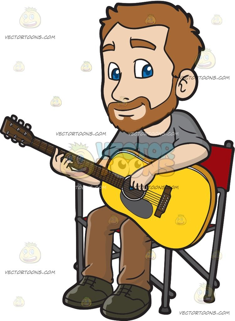 A Man Playing An Acoustic Guitar : A man with light brown hair.