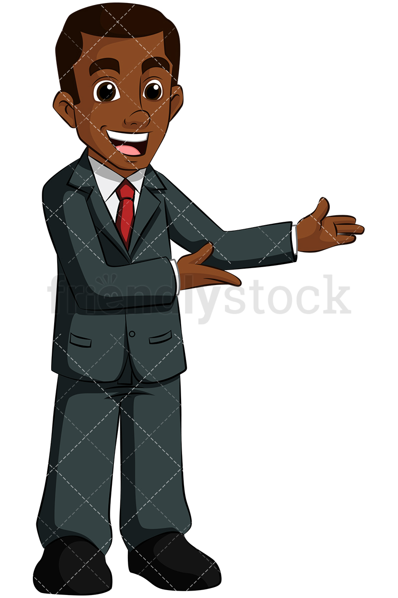 A Black Businessman With Arms To The Side, Giving Presentation.
