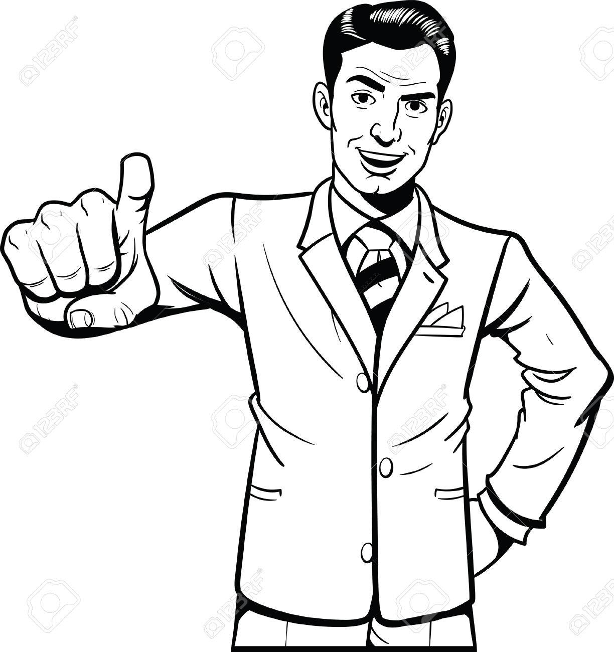 Retro style man pointing at camera. Vector clip art illustration...