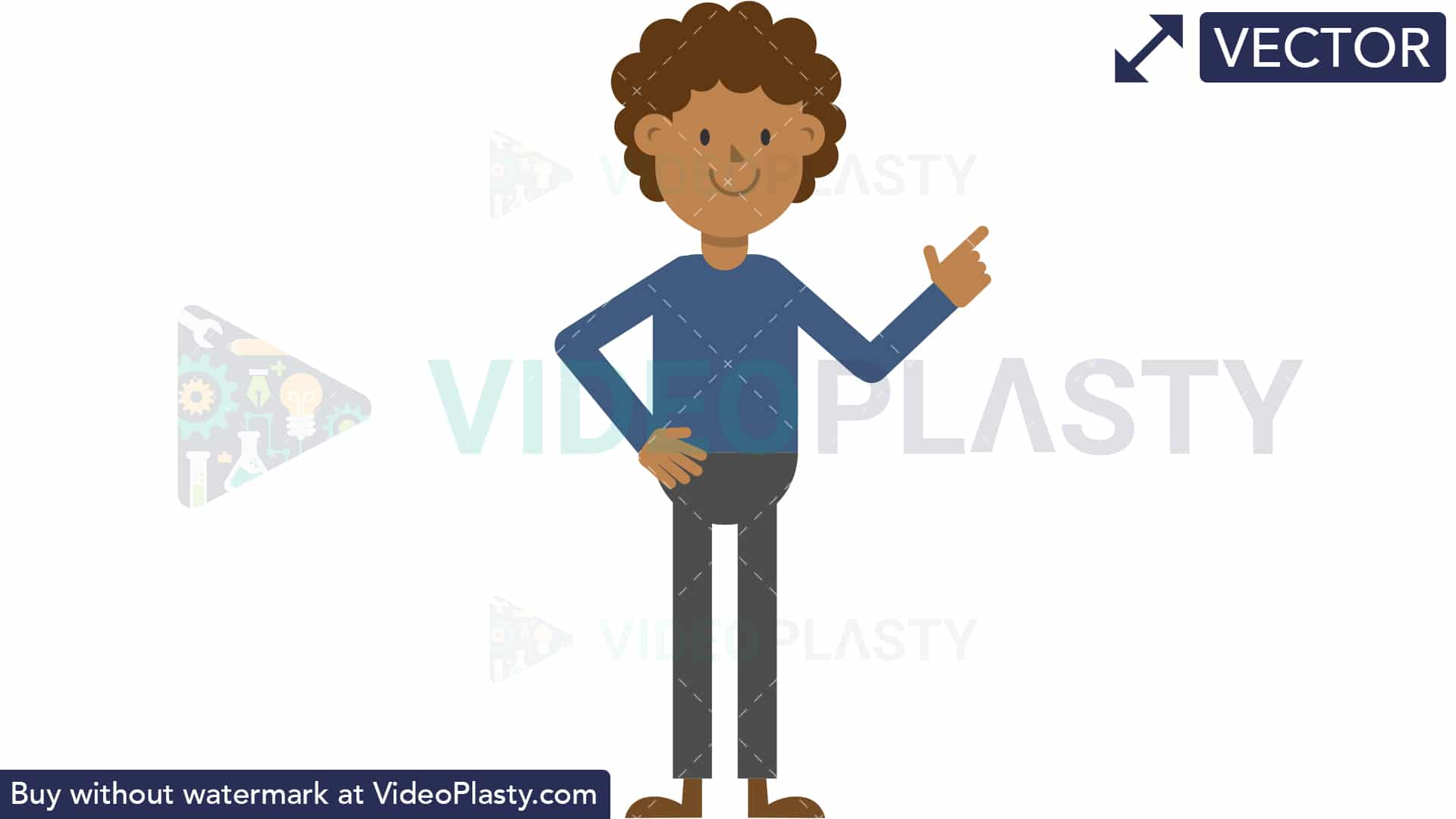 Black Man Pointing to the Right [VECTOR].
