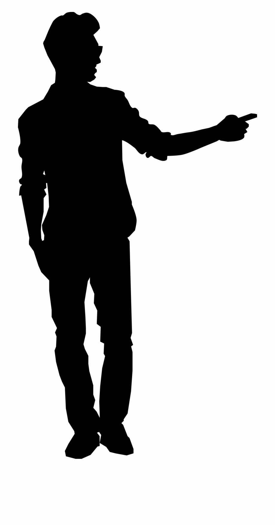 Man Pointing Silhouette Clipart Png.