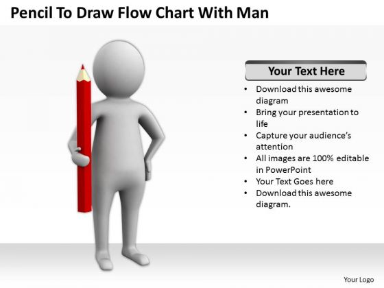 Business People Clipart Pencil To Draw Flow Chart With Man.