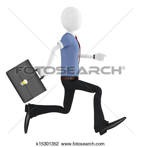 Clip Art of 3d man running with briefcase k15301352.