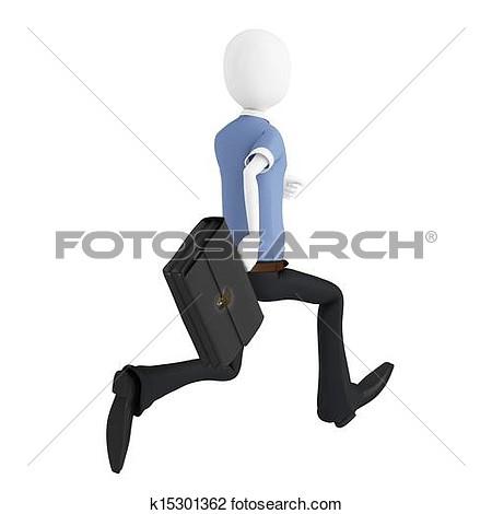 Clipart Man Running Briefcase.