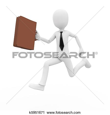 Clipart of 3d man businessman running with briefcase k5951671.