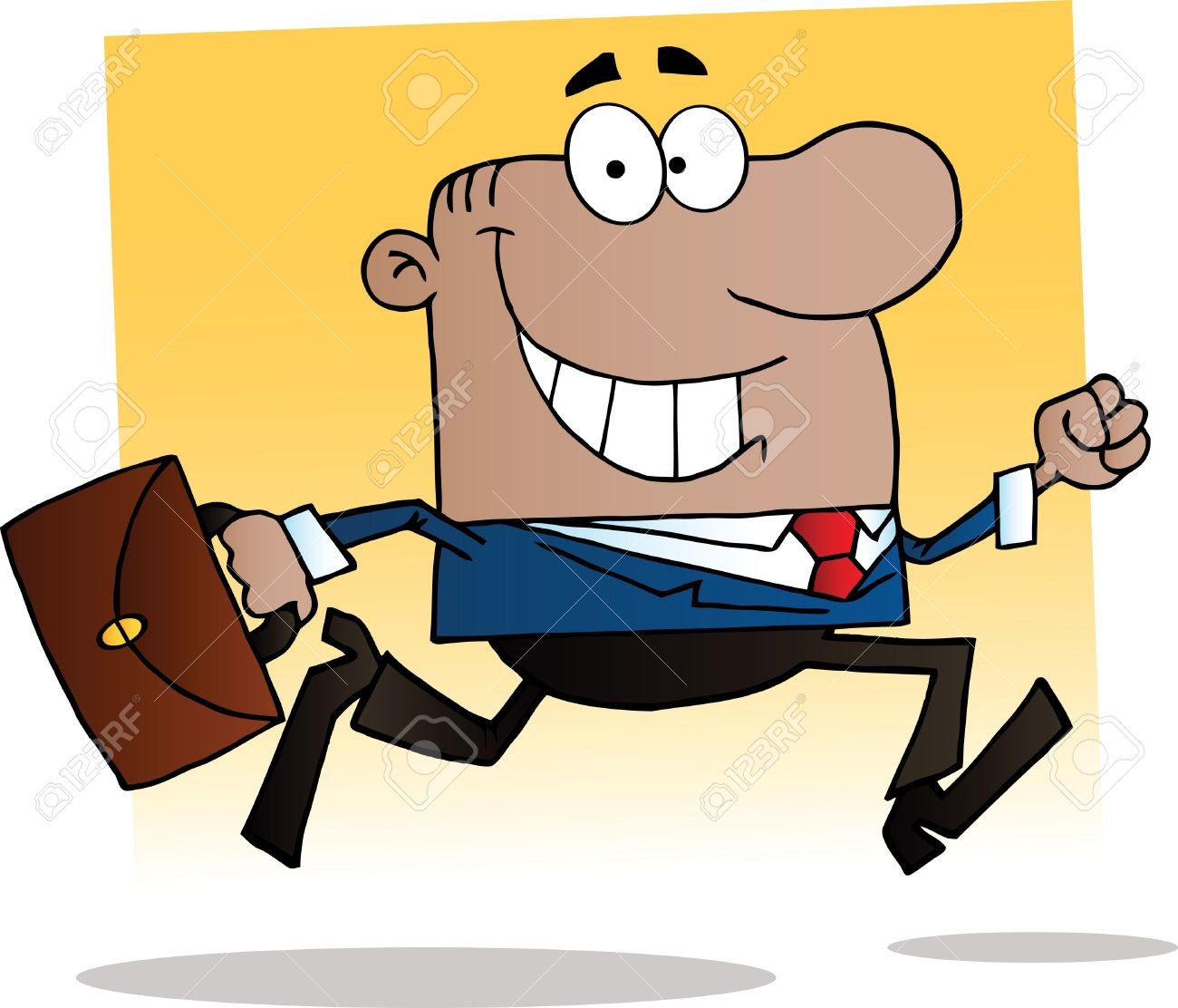 African American Businessman Running To Work With Briefcase.