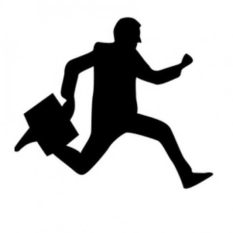 Running Man In Suit Silhouette clipart man running br...