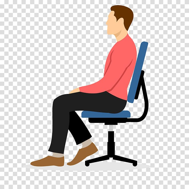 Man sitting on blue chair , Cartoon Chair , men sitting on a chair.