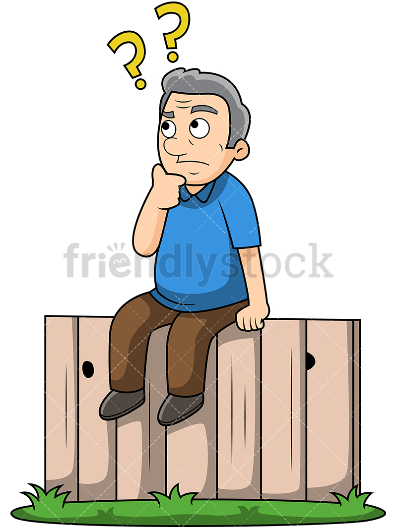 Old Man Sitting On The Fence.