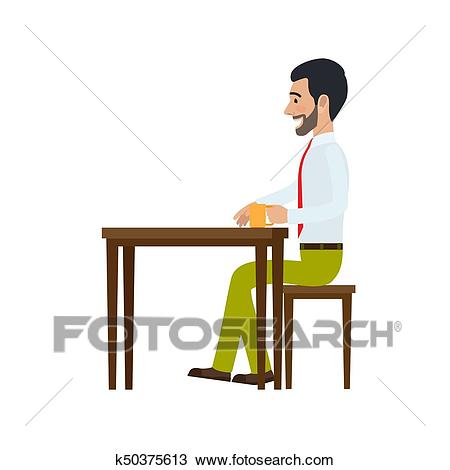 Man Sitting at Chair and Drinking Tea Side View Clipart.
