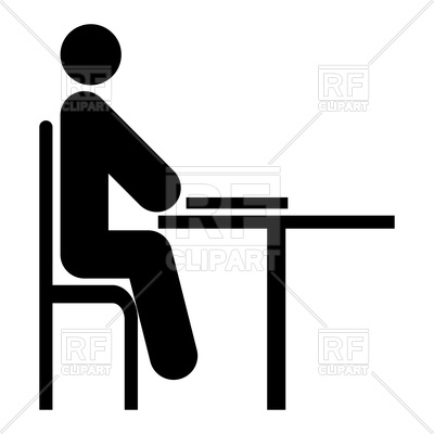Man sitting at a table icon Vector Image.