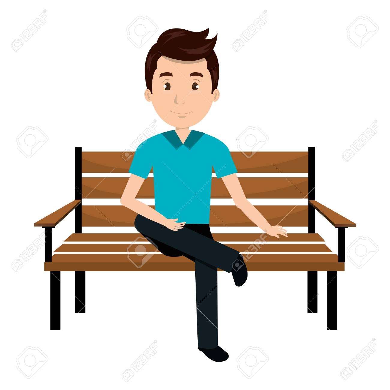 man sitting on park chair vector illustration design.