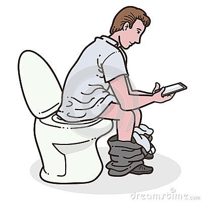 Man Using Phone In Toilet Stock Vector.