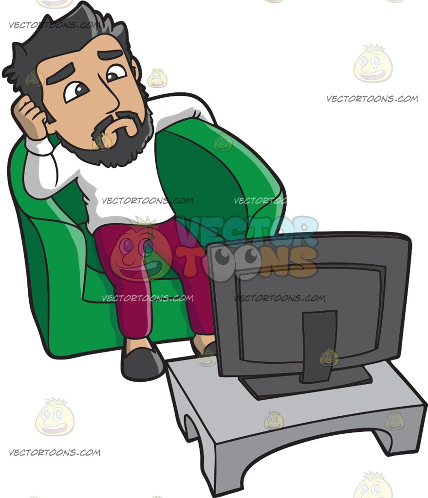 A Lonely Man Watching Tv Cartoon Clipart.