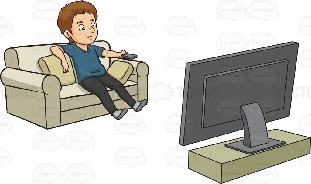 A Man Kills Time By Watching Television Cartoon Clipart.