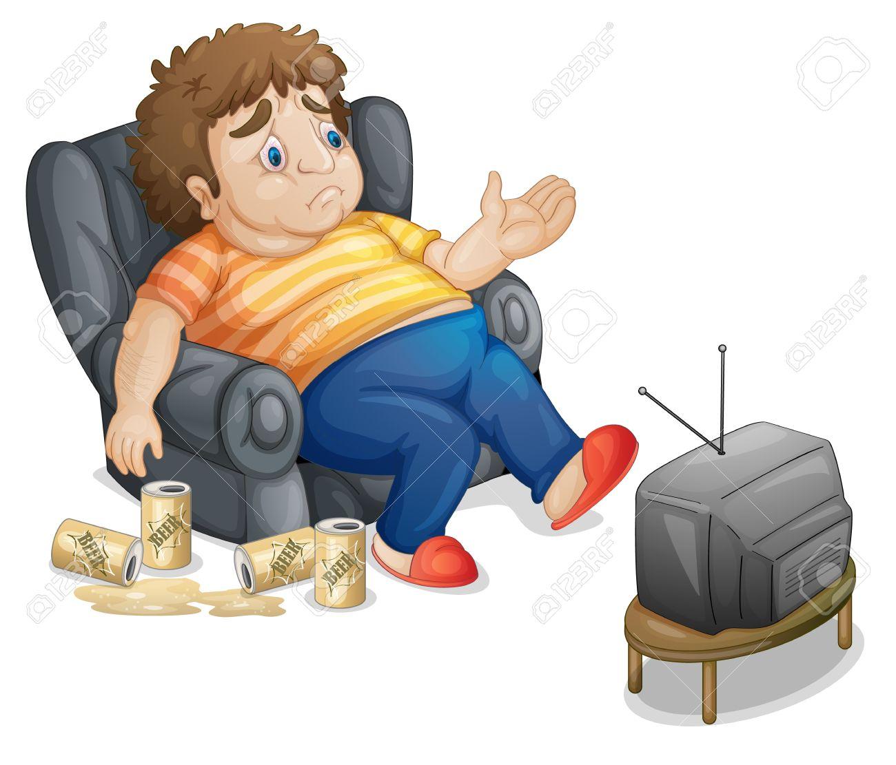Fat And Unhealthy Man Watching Tv Royalty Free Cliparts, Vectors.