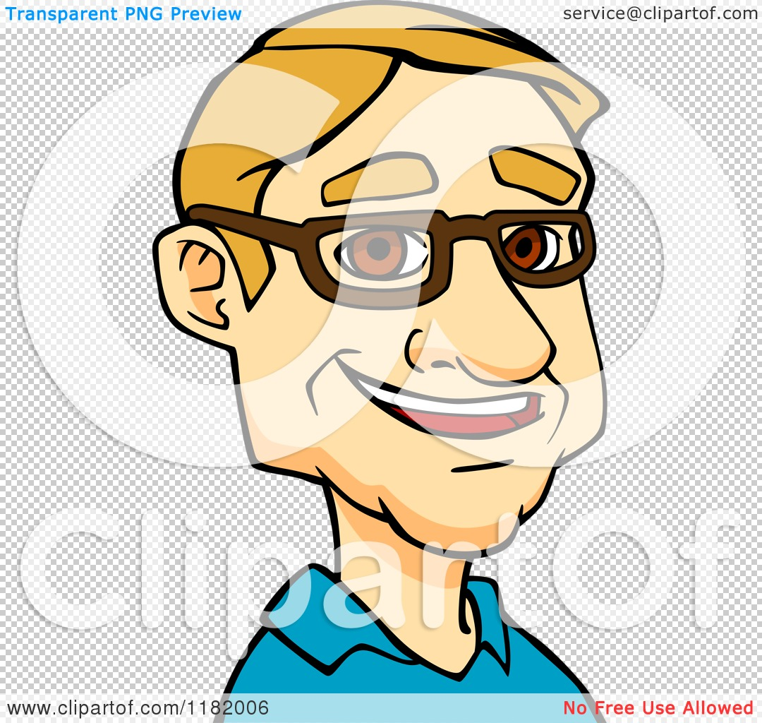 Cartoon of a Happy Blond Man with Glasses.