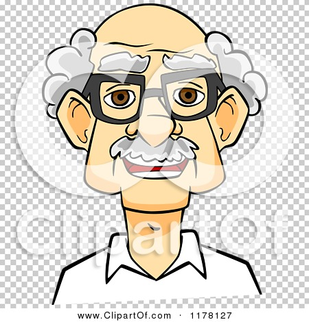 Clipart of a Happy Smiling Senior Caucasian Man with Glasses.