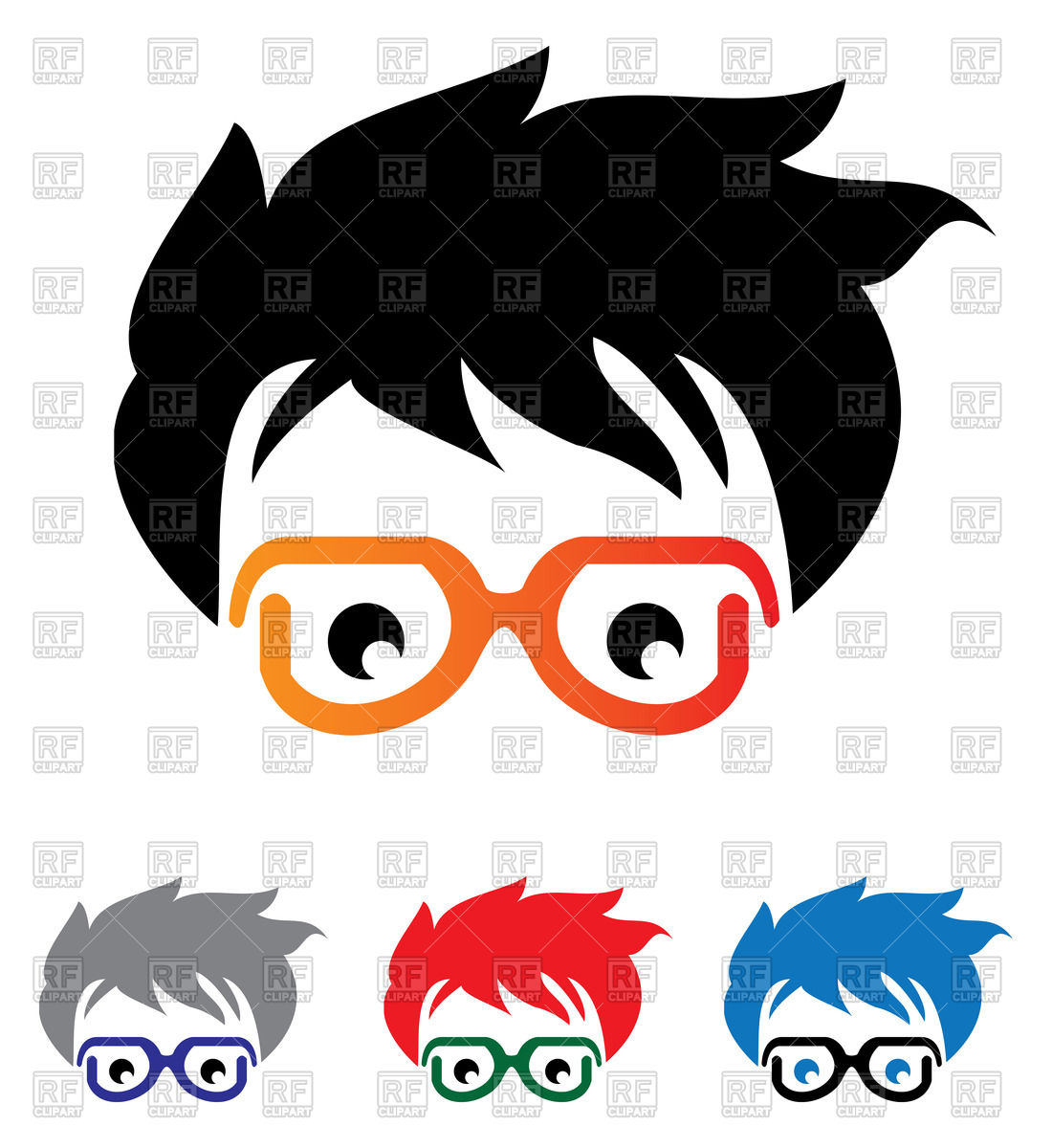 Head of man in glasses Vector Image #65604.