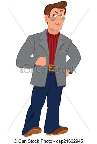 EPS Vector of Cartoon man in glasses and gray jacket.