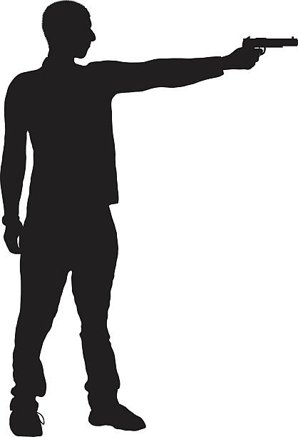 Silhouette Of A Man Holding Gun Clip Art, Vector Images.