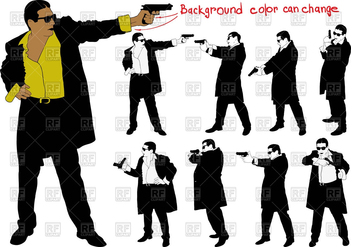 Man with gun in suit Vector Image #67222.