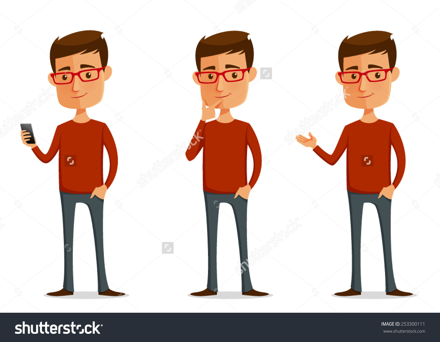 Funny Cartoon Guy Glasses Various Poses Stock Vector 253300111.